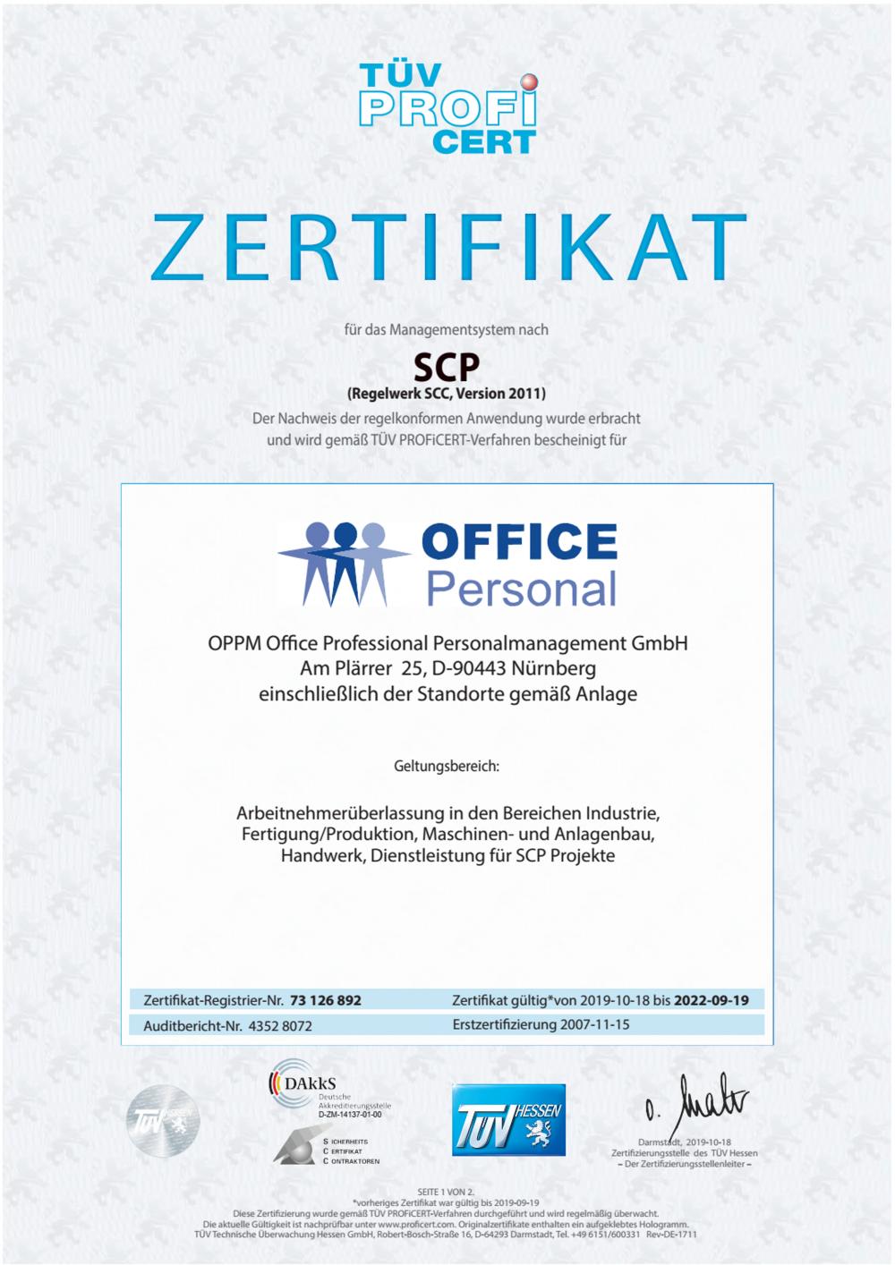 SCP Zertifikat OFFICE Personal bis 09 2018