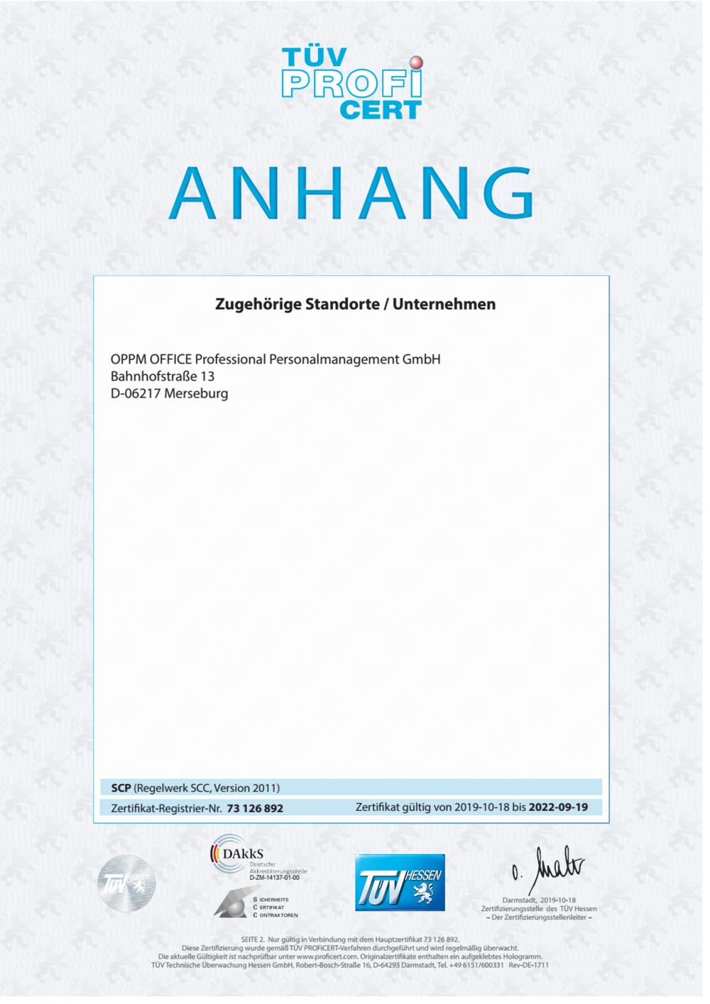 SCP Zertifikat Anhand Deutsch