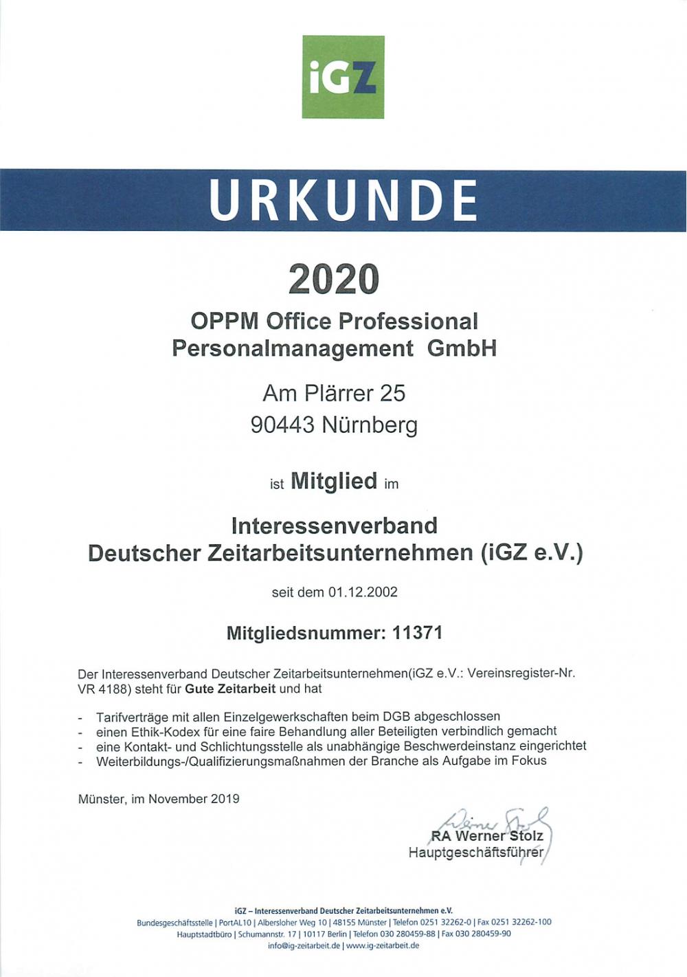 IGZ Mitgliedsurkunde 2020