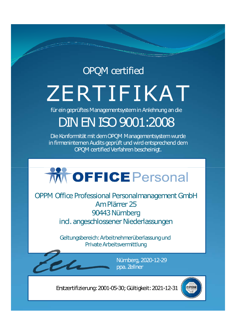 Zertifizierung nach OPQM