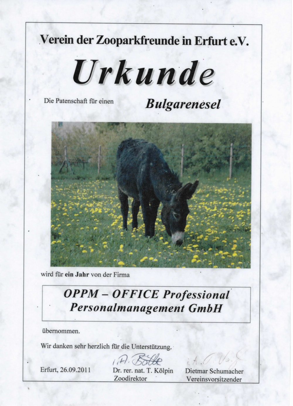 Tierpatenschaft von OFFICE Personal