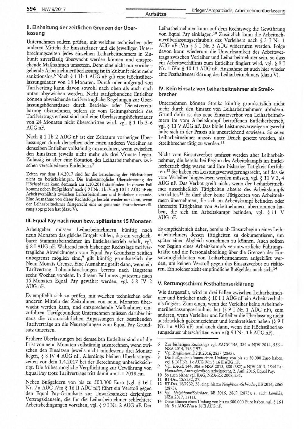 Reform des AÜG zum 01.04.2017